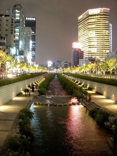 Cheonggyecheon is a 5.8 km creek flowing west to east through downtown Seoul, and then meeting Jungnangcheon, which in turn connects to the Han River and empties into the Yellow Sea. During the presidency of Park Chung-hee, Cheonggyecheon was covered with concrete for roads. In 1968, an elevated highway was built over it. In July 2003, then-Seoul mayor, Lee Myung-bak initiated a project to remove the elevated highway and restore the stream.