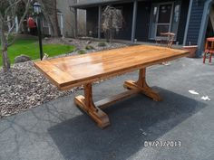 """double pedestal 3"""" thick top dining table"""