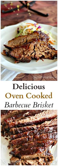 Delicious Oven Cooked Barbecue Brisket marinated overnight in liquid smoke and then slow cooked to perfection - The Foodie Affair Recettes de cuisine Gâteaux et desserts Cuisine et boissons Cookies et biscuits Cooking recipes Dessert recipes Food dishes Beef Dishes, Food Dishes, Main Dishes, Oven Cooked Brisket, Baked Brisket, Brisket In The Oven, Yummy Recipes, Oven Recipes, Meat Recipes