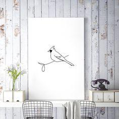 Cardinal Bird Art, Minimalist Poster, Large Printable Art, Bird Wall Art, Bird Print, Minimalist Line Drawing, Simple Sketch, Bird Printable, Black and White Art, Digital Download - by HappyCatDownloads