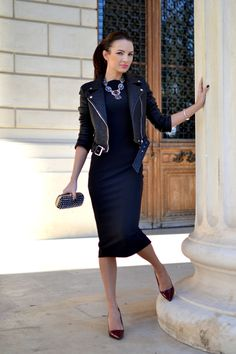 i was wearing this yesterday!  pencil skirt + leather jacket. all black.