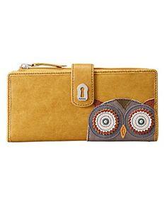Fossil Handbag, Ruby Tab Clutch $50.00  yellow + owl = cute!