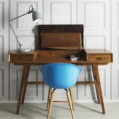 This Two-Tone writing desk works just as well as a hallway console or dressing table. With a folding panel and two drawers, it makes the perfect place to pen a letter to a loved one. Table Furniture, Furniture Design, Office Furniture, Antique Furniture, Hallway Console, Console Tables, Green Desk, Retro Office, Retro Desk