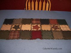 Rag Quilt Table Runner Colonial Primitive Colors by ColorMeWarmly, $39.00