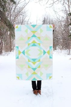 "Another fabulous quilt by Melissa Hevey - ""Geometric - Aqua Blue Green White"" quilt. $180.00.:"