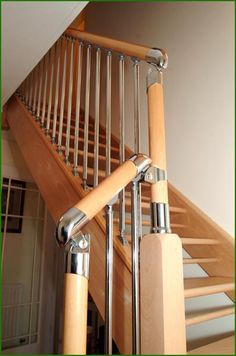 Chrome and Nickel Fusion Staircase Banisters, Glass Panels, Clothes Hanger, Chrome, Furniture, Coat Hanger, Hangers, Stair Railing, Closet Hangers