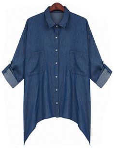 Navy Lapel Long Sleeve Pockets Denim Blouse - Sheinside.com