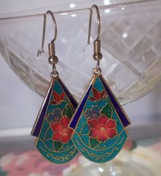 Enamel look Flower and Butterfly EarringsTeal Red by RiaMiaBeads, $5.00