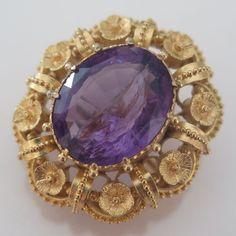 Antique Georgian 18k Solid Gold Cannetille Flower Amethyst Brooch Pin Pendant