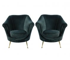 Ico Parisi Style Armchairs, just love the curve on the front edge