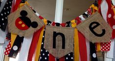 Mickey theme High Chair Banner mickey mouse one by backyardprims
