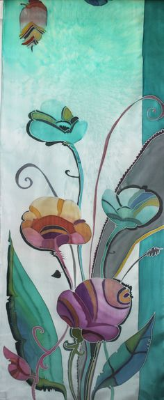 Silk Scarf Floral Dream in Teal and Gray от FineArtSilkScarves