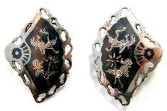 "CL020 Clip on Siam Silver Niello fan earrings. 1 1/8"" x 5/8"". Marked Siam Silver."