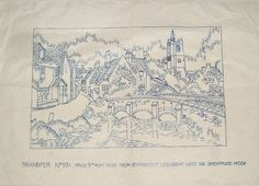 Vintage Stitchcraft embroidery transfer - English Village with Norman Church