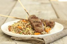Ground Lamb Kebabs with Dried Fruit-Mint Quinoa