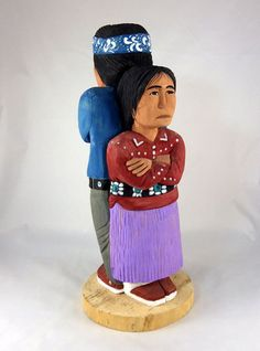 Who will give in first? It's a stand off! Wood Navajo Indian couple carved by Rena Juan,