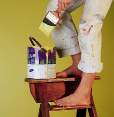 Never paint from the top of a step ladder. Avoid paint bucket accidents with a Buddy System paint tool.