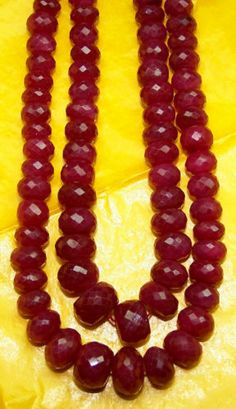 429 Ct Natural Ruby Faceted Roundelle Beads 6-9 MM 2 String 15-17 inch Necklace