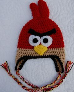 Angry birds crocheted hat need for 8 yr old little boy! Crochet Animal Hats, Crochet Hats For Boys, Crochet Baby Hats, Crochet Beanie, Crochet Clothes, Knitted Hats, Crochet Cap, Cute Crochet, Crochet Crafts