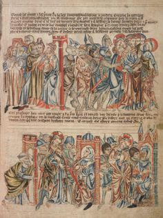 Предательство Иуды. Взятие Христа под стражу. Христос перед Анной и Каифой; Англия; XIV в.; памятник: Библия (Bible ('Holkham Bible Picture Book'). 1327-1335гг.