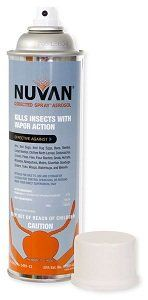 NUVAN Directed Spray Aerosol 17oz.  Nuvan Directed Spray Aerosol is used for the control of ants, bed bugs, bed bug eggs, bees, beetles, carpet beetles, clothes moth larvae, cockroaches, crickets, fleas, flies, flour beetles, gnats, hornets, millipedes, mosquitoes, moths, silverfish, sowbugs, spiders, ticks, wasps, waterbugs and weevils. Nuvan Directed Spray Aerosol is for use as a localized...