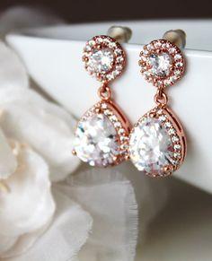 Rose Gold Wedding Bridal Earrings Rose by DreamIslandJewellery