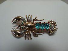 Vintage Signed Coro Craft Lobster Brooch Sterling Vermiel Rhinestones