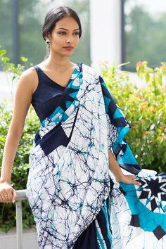 Blue Maasai Jewels batik saree www.fashionmarket.lk free shipping to india