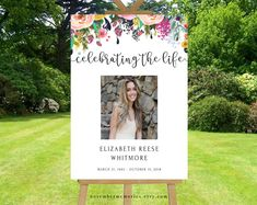 Celebration Of Life Decorations Template Banner Funeral Decor Life Celebration Memorial Service Ideas With Photo Photo Sign Floral Colorful