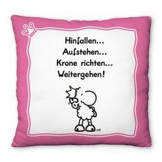 """Plüschkissen """"Krone richten"""" von sheepworld.  http://sheepworld.de/shop/nach-Serien-Motive/Krone/Plueschkissen-KRONE.html"""