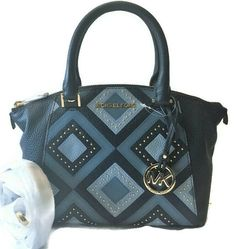 517f3b118228c0 Michael Kors Mini Satchel Bag Navy Pale Blue Leather & Gold Studs XS  Riley NEW