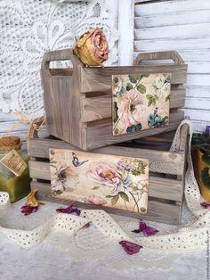 """Купить Набор ящиков для хранения """"La fleur"""". - Декупаж, ящик для хранения, ящик, ящик из дерева 3d Paper Crafts, Crafts To Do, Decor Crafts, Wood Crafts, Fruit Shop, Amazing Transformations, Luxury Home Decor, Gift Packaging, Wooden Boxes"""