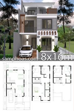 Home Design Plan with 5 Bedrooms Plot This villa is modeling by SAM-ARCHITECT With 3 stories level. It's has 5 bedrooms. House Arch Design, 3 Storey House Design, Two Story House Design, Modern Small House Design, Duplex House Design, Simple House Design, Duplex House Plans, House Layout Plans, New House Plans
