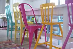 The brightly colored chairs would be great for space shared by both kids and adults :)