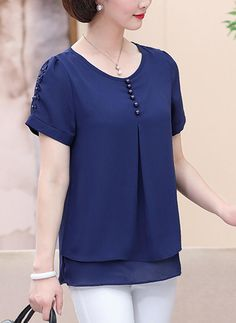 Chiffon Round Neck Plain Short Sleeves Casual Blouses (1003226871) - Blouses - veryvoga