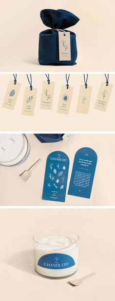 Verpackung Natural candle packaging design, branding logo - peach, navy blue design - T . Candle Logo, Candle Branding, Candle Packaging, Candle Labels, Bakery Branding, Logo Branding, Logos, Pizza Branding, Cosmetic Packaging