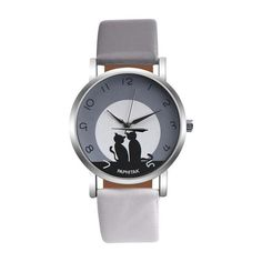 Sweet moonlit cats in silhouette quartz watch with grey and white strap. Various colors available. The perfect accessory for every cat lover. Shop now.