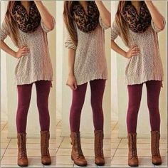Sweater leggings bordeaux boots