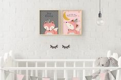 Giclee Print, Fox Print, Baby Woodland Decor, Woodlands Nursery Wall Art Decor, Baby Fox Print Decor, Fox Wall Art Print, Pink fox, Giclee.  ❥ ❥ ❥ ❥ ❥ Opening SALE - Enjoy 85% Off ALL ITEMS!!! Enter Coupon Code FRIENDSLOVE85 at Checkout. ❥ ❥ ❥ ❥ ❥ ❥ have your little baby girls nursery be trendy, romantic and well designed with this beautiful and genuine handmade, giclee print nursery fox print featuring an illustrated cute woodland Pink baby fox on a delicately textured Pink background…