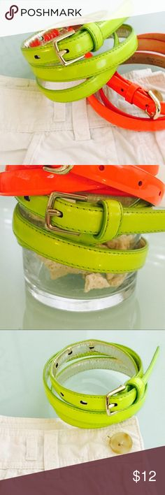 J. Crew Patent Leather Skinny Belt in Neon Limeaid J. Crew Patent Leather Skinny Belt in Neon Limeaid. Perfect condition. Worn once. Size xs. Bright yellow- green neon belt from J. Crew. J. Crew Accessories Belts