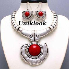 CHUNKY WESTERN COWGIRL Red Stone SILVER BIB NECKLACE EARRINGS FASHION JEWELRY. $24.65