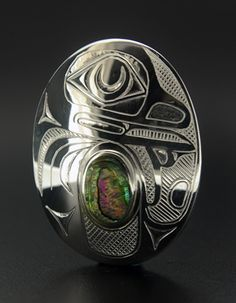Barry Wilson, Sterling Silver Pendant with Abalone Inlay, Frog, Northwest Coast Native Art