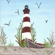 Assateague Island Light House Acrylic on by whatsingramasdrawers Reminds me of the Misty of Chincoteague book series about the wild horses!