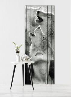 """Antonio Mora - """"Ana y los lobos"""", printed paper and wood, 90x240 cms. Collage sobre viejos tablones de madera o vinilo . # Decoración # casa # diseño . Info sale: pil4r@routetoart.com"""