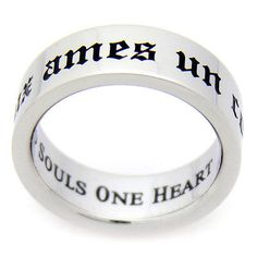 Deux Ames Un Coeur Two Souls One Heart Poesy Stainless Ring Him Her Lovers Gifts | eBay