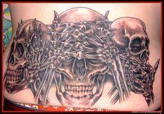 Evil Tattoo Designs for Men   No Evil Skulls On Back   Funny Tattoos