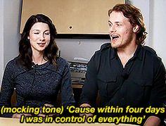 "(gif) - Sam: ""I was temping for the NHS in London and in four days I was in charge of all the doctors' routers in all of London.""  Cait: ""Ohhhhh 'cause he's the king of meeennnnn... [mocking tone] 'Cause within four days I was in control of everything.'""  Sam: ""I think it was more the fact that they just kept realizing that they could give me more work to do, but I lost the job because I kept wandering off."""