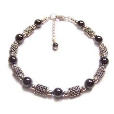Hematite black gemstones and Celtic knotwork Sterling silver bracelet