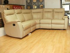 cream pebble leather 5 piece corner group with manual rec £799 in Home, Furniture & DIY | eBay