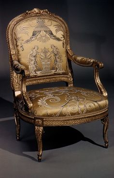 Armchair Georges Jacob  (1739–1814, master 1765) Date: ca. 1770–80 Culture: French (Paris) Medium: Carved and gilded walnut, gold and blue lampas